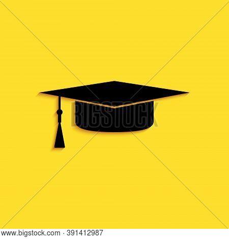 Black Graduation Cap Icon Isolated On Yellow Background. Graduation Hat With Tassel Icon. Long Shado