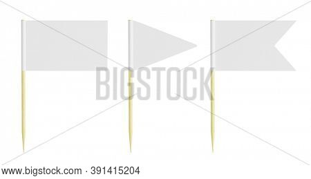 Blank Toothpick flag - Miniature paper pointer flag isolated on white background - 3d rendering