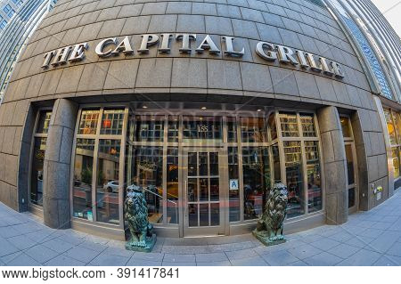 New York, Usa - March 7, 2020: The Capital Grille Facade In Chrysler Center, An American Restaurant