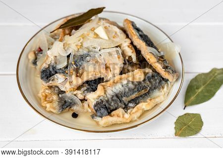 Fried Herring In A Vinegar Marinade With A Bay Leaf, Mustard And Allspice
