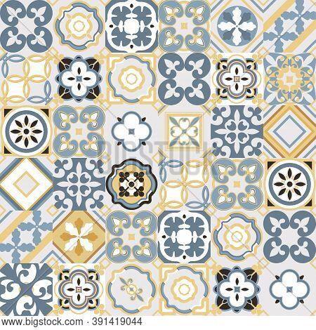 Vintage Seamless Tile Pattern.morocco, Indian, Arabic, Turkish Motifs . Azulejo. Lisbon, Portuguese