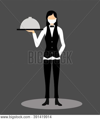 Waiter In Face Mask Serves Food. Waiter Woman On Dark Background. Food Delivery Woman During Coronav
