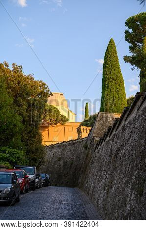 Street Parking In Castel Gandolfo, Summer Residence Of The Pope, Located On Alban Hills Near Lake Al