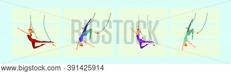 Set Of Circus Show Illustration. Acrobat Girl Flying On Trapeze Icon Design Template With Various Mo