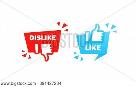 Like And Dislike Sign. Thumb Up And Thumb Down Symbol. Vector On Isolated White Background. Eps 10