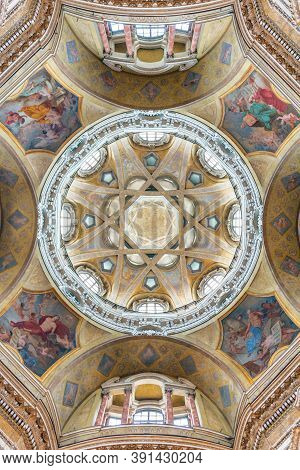 Turin, Italy - 06 08 2016: Interior View Of The Cupola Ceiling In The Royal Church Of Saint Lawrence