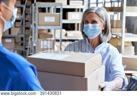 Female Manager Worker Wearing Face Mask Holding Fast Drop Shipping Safe Delivery Packages Giving Par