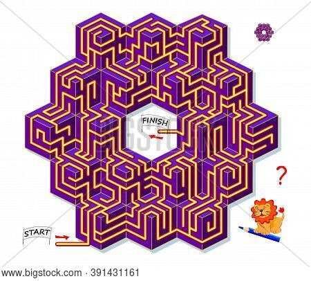 Logic Puzzle Game With Labyrinth For Children And Adults. 3d Maze. Find The Way From Start To Finish