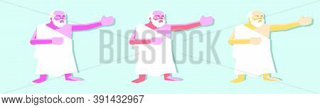 Set Of Socrates Classical Greek Philosopher Cartoon Icon Design Template With Various Models. Vector