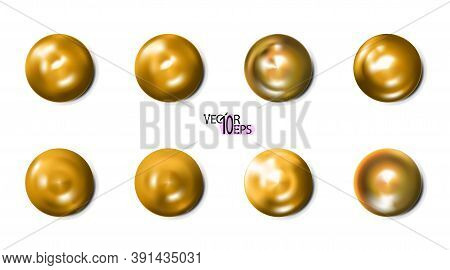 Realistic Golden Construction Rivets, Gold Set Heads Isolated On White Background. Shiny Caps. In Su