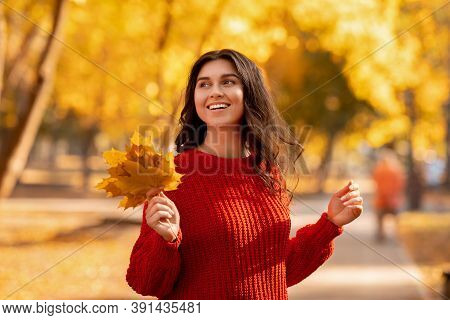 Portrait Of Attractive Cheerful Young Lady In Red Sweater Holding Bouquet Of Yellow Leaves At Autumn