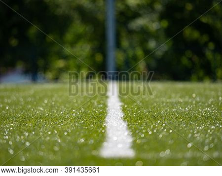 Lines On Soccer Football Field, Sport Background. Green Artificial Grass Turf Field With White Line