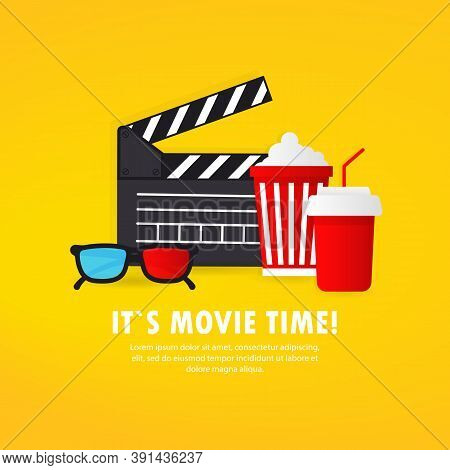 It Is Movie Time Banner. Film. Cinema Banner. Greating Card. Vector On Isolated White Background. Ep