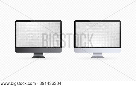 Computer Display Icon. Realistic Computer Monitor. Light And Dark Theme. Blank Screen. Pc Screen Moc