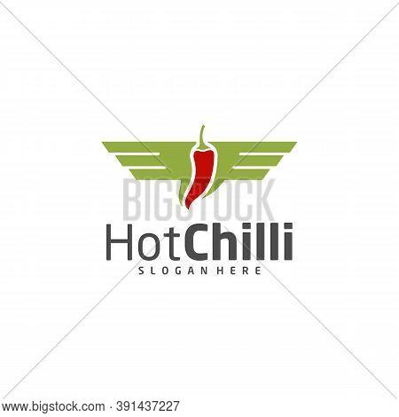 Wings Chili Logo Design Vector Template, Red Chili Illustration, Symbol Icon