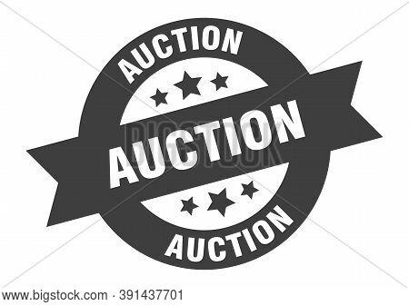 Auction Sign. Auction Black Round Ribbon Sticker
