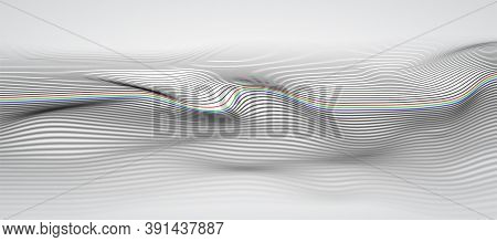 Wide 3d Wave Stripe Background With Dept Of Field Effect. Technology Background Concept. Dynamic Cur