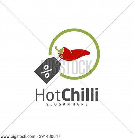 Shop Chili Logo Design Vector Template, Red Chili Illustration, Symbol Icon