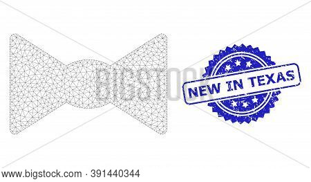 New In Texas Dirty Stamp Seal And Vector Bow Tie Mesh Model. Blue Stamp Has New In Texas Title Insid