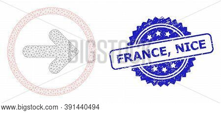 France, Nice Textured Stamp Seal And Vector Right Pointer Mesh Model. Blue Stamp Seal Contains Franc