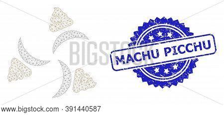 Machu Picchu Dirty Seal Print And Vector Shit Fan Mesh Structure. Blue Seal Contains Machu Picchu Ti
