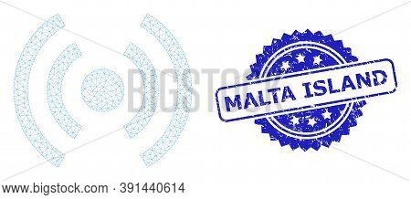 Malta Island Grunge Seal Imitation And Vector Mobile Internet Mesh Model. Blue Seal Includes Malta I