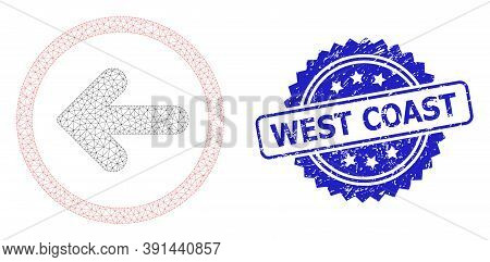West Coast Dirty Seal And Vector Left Pointer Mesh Model. Blue Seal Includes West Coast Text Inside
