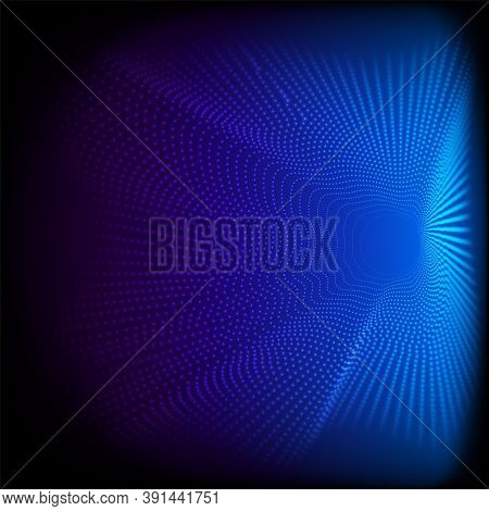 Abstract Dynamic Dots Wave 3d Pattern Particles On Blue Background And Texture Big Data Digital Rend