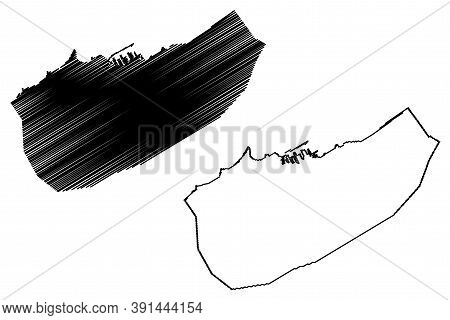 Casablanca City (kingdom Of Morocco, Casablanca-settat Region) Map Vector Illustration, Scribble Ske