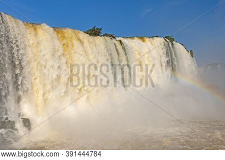 Torrents Of Water Plunging Over The Falls At Iguazu Falls In Brazil
