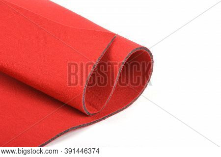 Roll Of Red Color Material Foam Rubber, Fabric For Bra And Underwear. The Porous Structure