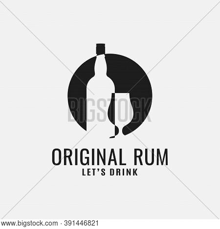 Rum Bottle With Rum Glass Logo On White Background
