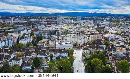 Aerial View Over The City Of Basel Switzerland - Drone Footage