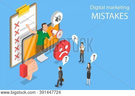 3d Isometric Flat Vector Conceptual Illustration Of Digital Marketing Mistakes.