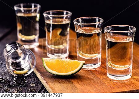 Several Glasses Of Mezcal (or Mescal) Is An Exotic Alcoholic Drink From Mexico, Distilled, Variation