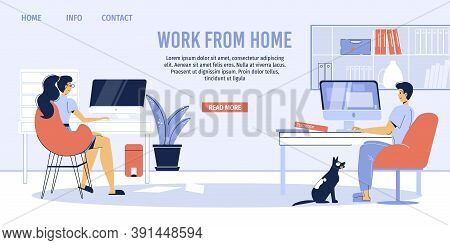 Married Couple Earn Money Remotely From Home Office Landing Page. Remote Work, Freelance. New Normal