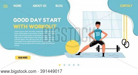 Good Day Start. Morning Workout. Happy Healthy Schoolboy Training At Home Do Warm-up Exercise In Roo