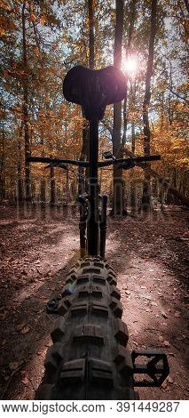 Low Angle View Of A Mountain Bike On A Beautiful Autumn Forest Trail With Sun Shining Through The Tr