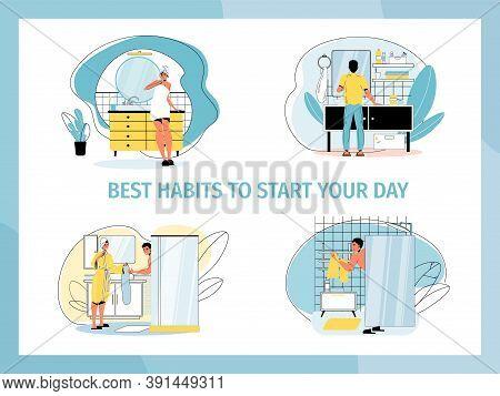 Daily Morning Routine In Bathroom. Woman Beauty Procedure, Man Hygiene Activity. People Best Habit T
