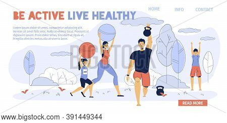 Happy Family Enjoy Sport Activity Outdoor In Natural Park. Parent Children Exercising Training Breat