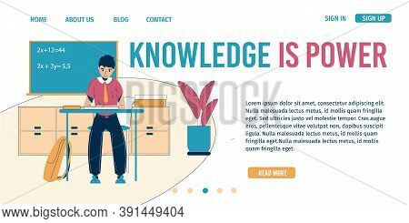 Knowledge Is Power Inspiration Quote. Schoolboy Sitting At Class Desk Writing Lesson, Doing Math. On