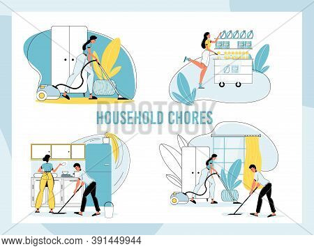 Happy Family Daily Household Chore. Man Husband Woman Wife Doing Domestic Work At Home Set. Daily Ho