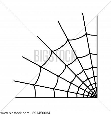Spider Web Corner Icon. Halloween Decoration With Cobweb. Simple Spiderweb Flat Vector Illustration.