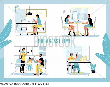 Breakfast Time Set. Daily Morning People Healthy Meal Habit. Young Family Child, Loving Couple, Sing