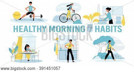 Healthy Morning Habits For Kid Motivation Poster. Boy Girl Child Exercising Doing Workout, Walking C