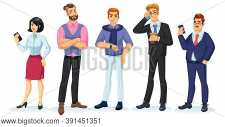 People Character Set. Adult Man Millennial Woman Wearing Casual, Fashion, Formal, Informal Clothes S