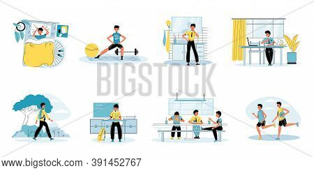 Young Schoolboy Daily Life Schedule Routine Activity Scene Set. Boy Doing Workout, Brushing Teeth, E