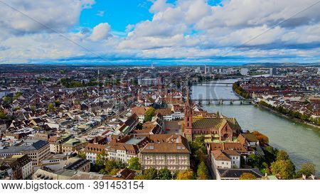 Aerial View Over The City Of Basel Switzerland And River Rhine - Drone Footage