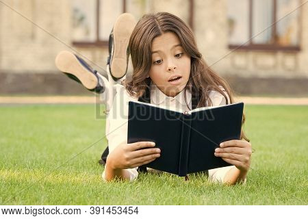 Studying Concept. Extracurricular Reading. Cute Small Child Reading Book Outdoors. Basic Education.