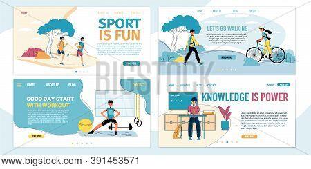 Children Balanced Growth, Education, Comprehensive Development Landing Page Set. Attraction To Schoo